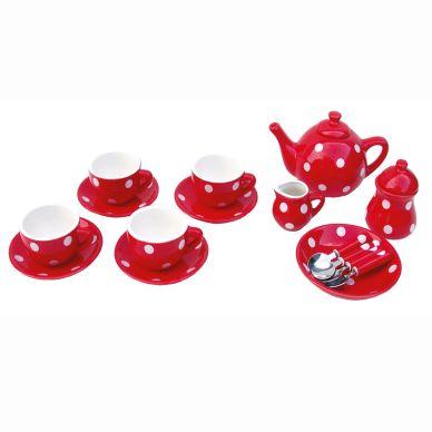 JaBaDaBaDo Tee-Set Rot mit Punkten