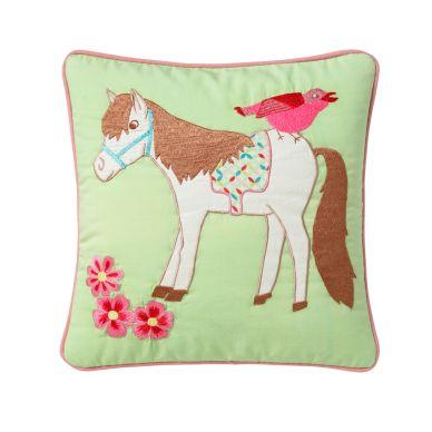 Room Seven Kissenhülle Horse Grün Bestickt