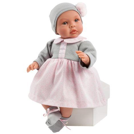 Asi Dolls Puppe Leo Rosa/Graues Kleidchen