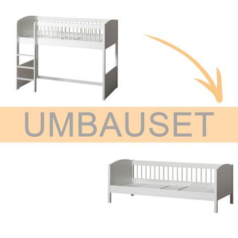 Oliver Furniture Umbauset Seaside Lille + halbhohes Hochbett zum Juniorbett Weiß