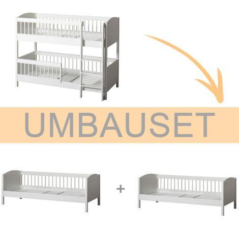 Oliver Furniture Umbauset Seaside Lille+ halbhohes Etagenbett zu 2 Juniorbetten Weiß