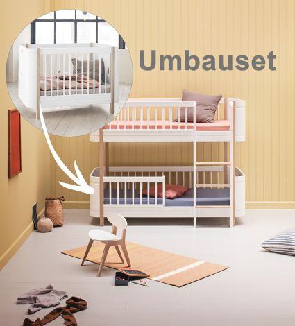 Oliver Furniture Umbauset Wood Mini+ Basic zum halbhohen Etagenbett Weiß/Eiche