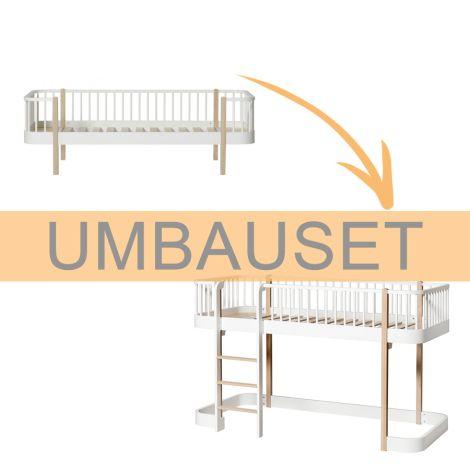 Oliver Furniture Umbauset Wood Einzelbett/Juniorbett zum halbhohen Hochbett, Weiß/Eiche