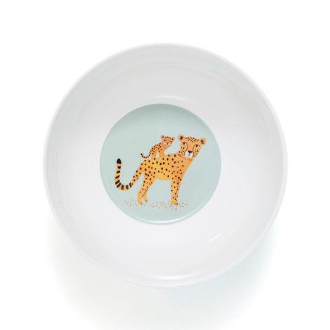 Petit Monkey Melamin Schüssel Leopard Blau