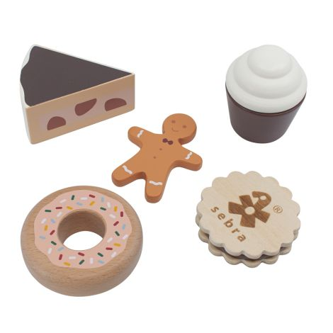 Sebra Kuchen und Kekse aus Holz 6-teilig
