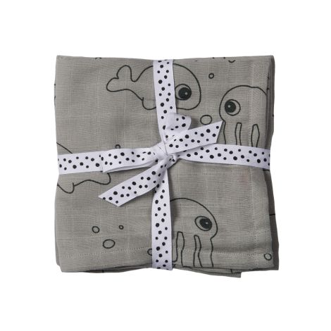 Done by Deer Tuch Swaddle  Sea Friends Grey 2er-Set
