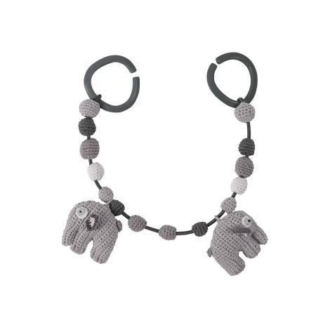 Sebra Häkel-Kinderwagenkette Elefant Grau