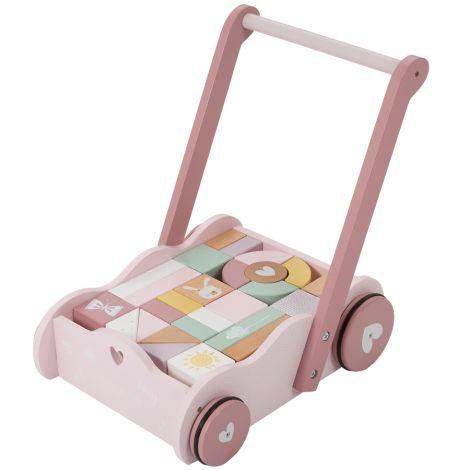 Little Dutch Laufwagen mit Bauklötzen Adventure Pink