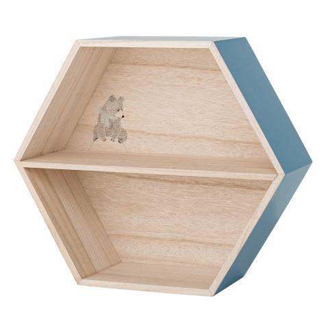 Bloomingville Display Box, Regal Hexagonal Natural/Dusty Blue