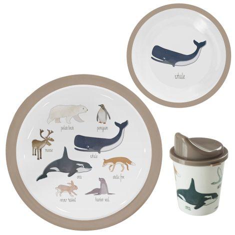 Sebra Melamin-Geschirrset 3-teilig Arctic Animals
