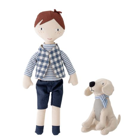 Bloomingville Puppe Junge mit Hund 2-teilig