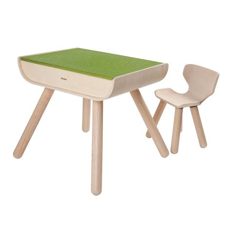 PlanToys Schreibtisch & Stuhl Grün