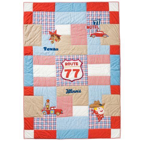 Room Seven Quilt Route 77 Blau Bestickt 150 x 220 cm