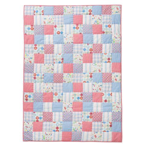 Room Seven Quilt Patchwork Blau/Rot/Weiß