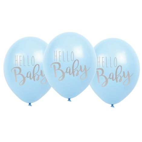 "JaBaDaBaDo Luftballon ""Hello Baby"" Blau 6er-Set"