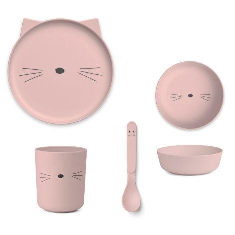 LIEWOOD Geschirr-Set Bamboo Cat Rose 4-teilig