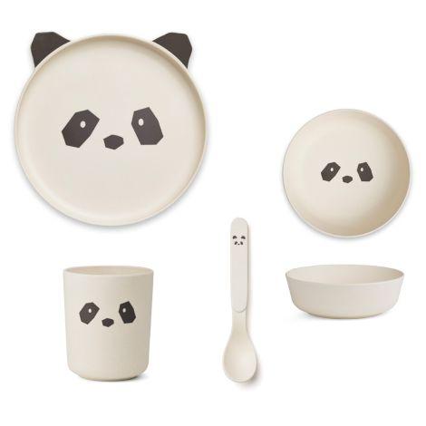LIEWOOD Geschirr-Set Bamboo Panda Creme de la Creme 4-teilig