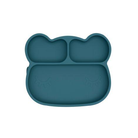 We Might Be Tiny Teller mit Saugfuß Stickie Plates Bear Blue Dusk
