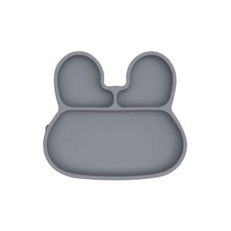 We Might Be Tiny Teller mit Saugfuß Stickie Plates Bunny Grey