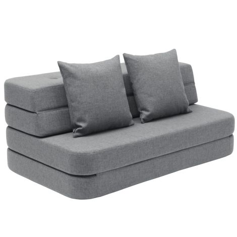 by KlipKlap KK 3 fold Sofa XL soft 140 cm Blue Grey/Grey