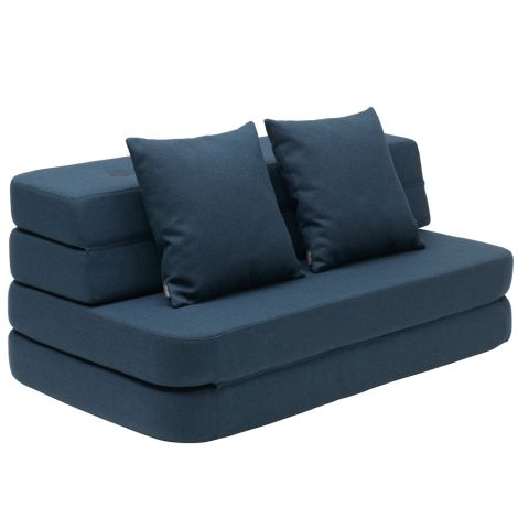 by KlipKlap KK 3 fold Sofa XL soft 140 cm Dark Blue/Black