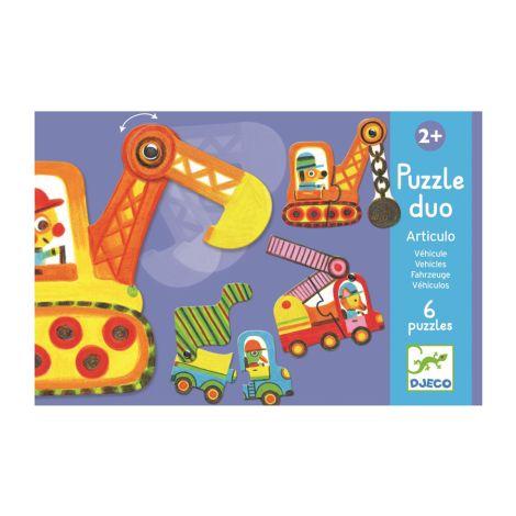 Djeco Lernspiel - Puzzle duo/trio Bewegte Fahrzeuge