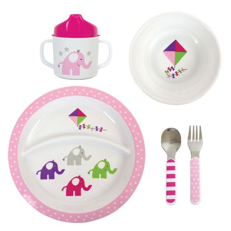 JaBaDaBaDo Kindergeschirr-Set Elefant Pink 5-teilig