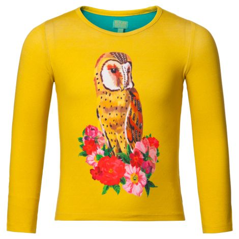 Room Seven Langarm-Jersey Solid Yellow, Owl