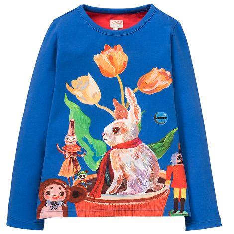 Room Seven Langarm-Shirt Tin White Rabbit and Tulips Blue