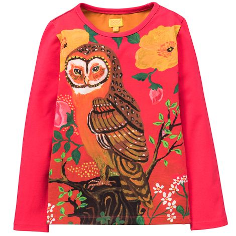 Room Seven Langarm-Shirt Tin Owl and Flowers Pink