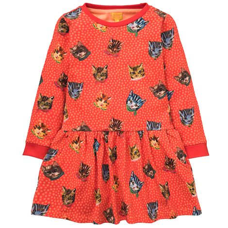 Room Seven Jersey-Kleid Titous Cats Brown