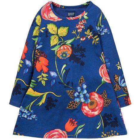 Room Seven Jersey-Kleid Toulas A-Linie Big Flower Blue