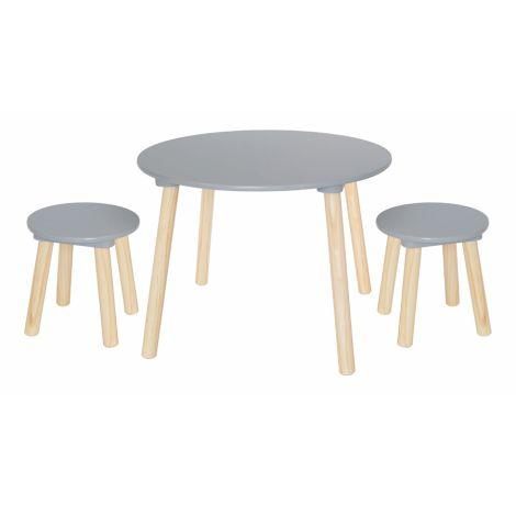 JaBaDaBaDo Tisch mit Hockern Grau 3-teilig