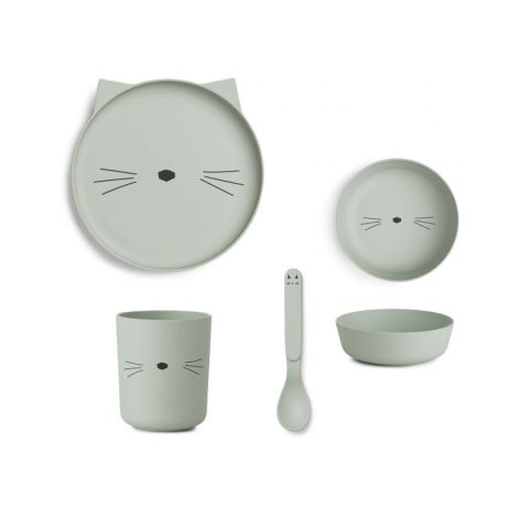 LIEWOOD Geschirr-Set Bamboo Cat Dusty Mint 4-teilig