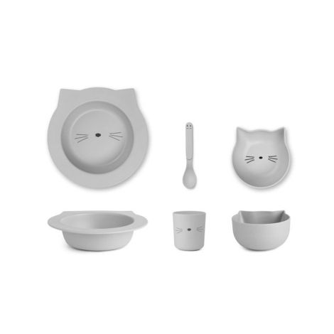 LIEWOOD Geschirr-Set Barbara Cat Dumbo Grey 4-teilig