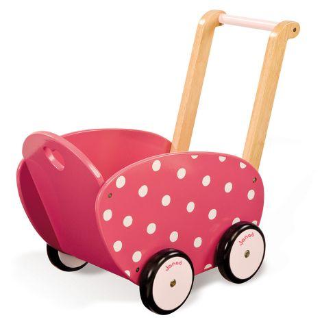 Janod Puppenwagen Holz rosa mit Punkten