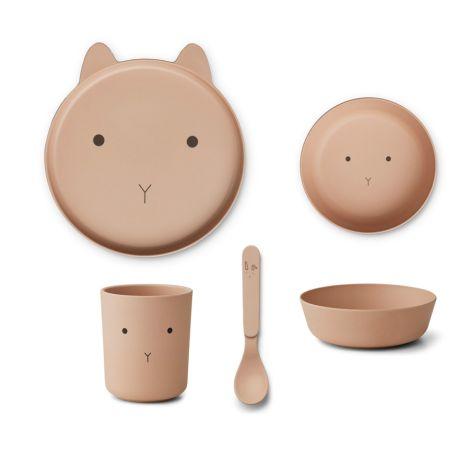 LIEWOOD Geschirr-Set Bamboo Rabbit Rose 4-teilig