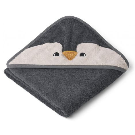 LIEWOOD Kapuzenhandtuch Albert Penguin Stone Grey