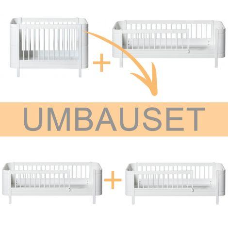Oliver Furniture Umbauset Wood Mini+ Basic und Geschwisterset zu 2 Juniorbetten Weiß