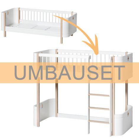 Oliver Furniture Umbauset Wood Mini+ Juniorbett zum halbhohen Hochbett Weiß/Eiche