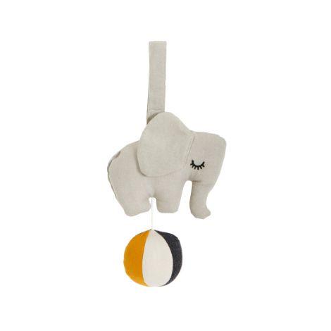 Roommate Spieluhr Elephant auf Ball Grey Bio-Baumwolle
