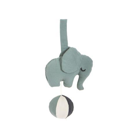 Roommate Spieluhr Elephant auf Ball Sea Grey Bio-Baumwolle