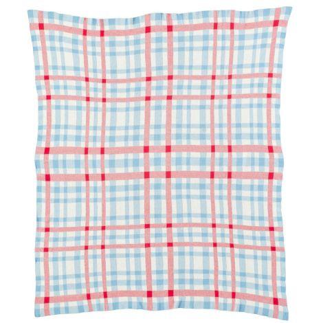Room Seven Strickdecke Checks Blau/Rot/Weiß