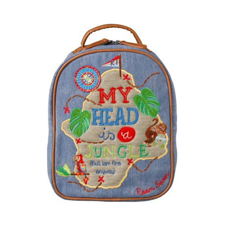 Room Seven Kleiner Rucksack My Head Is A Jungle Bestickt, Blau