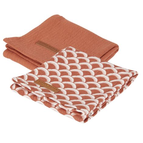 Little Dutch Swaddle Tuch 70 x 70 Sunrise Rust 2er-Set