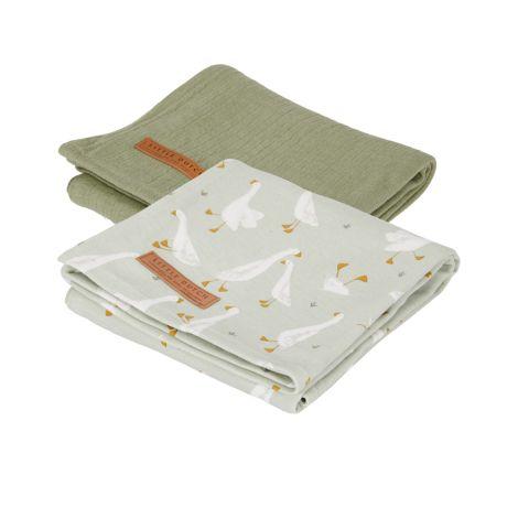 Little Dutch Tuch Swaddle 70 x 70 Little Goose / Pure Olive 2er-Set