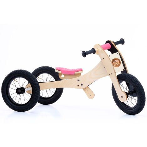 Trybike Dreirad / Laufrad Wood Pink 4 in 1