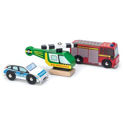 Le Toy Van Notfall-Fahrzeuge Holz 3er-Set