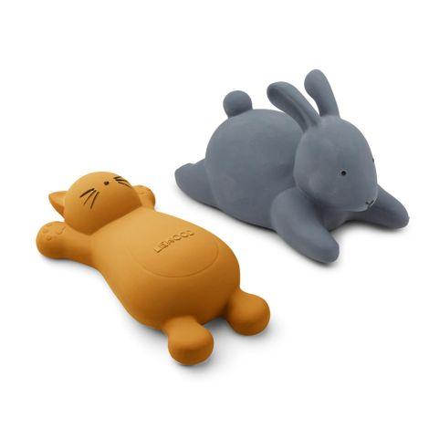 LIEWOOD Badewannen-Spielzeug Vikky Cat Mustard 2er-Set