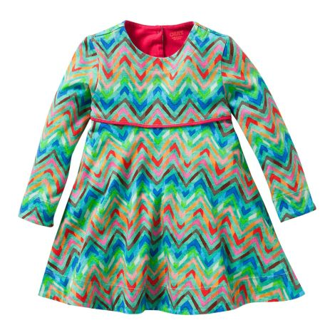 Oilily Jersey-Kleid Tineke All-Over Zigzag Green